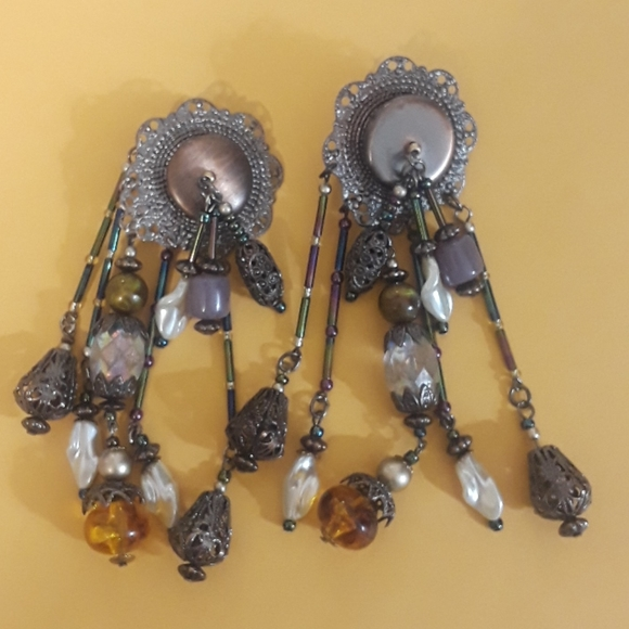 Vintage Elegant Glass Beads Clip-On Earrings